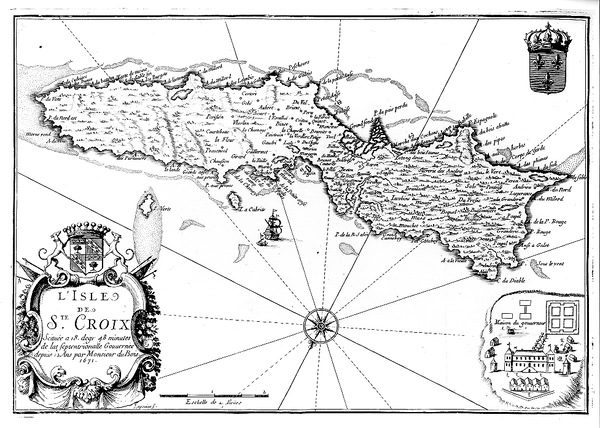 1671 French Map of St. Croix
